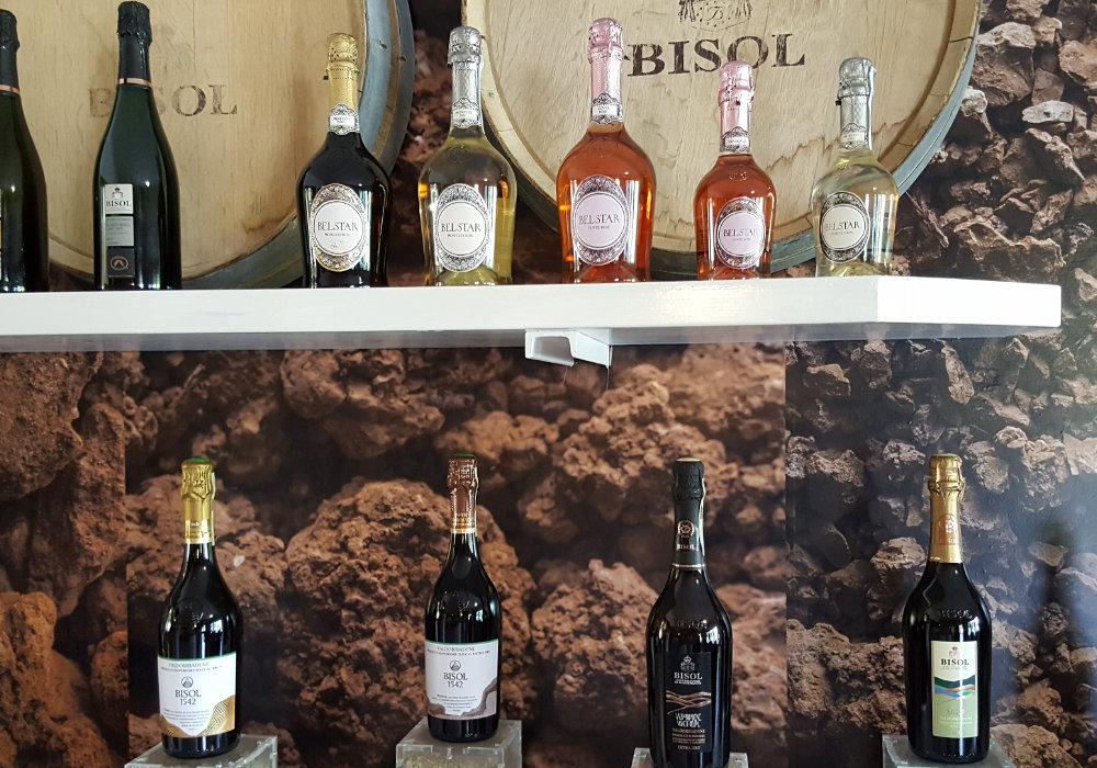 Bisol Prosecco wijnen in het Cartizze gebied bij Valdobbiadene