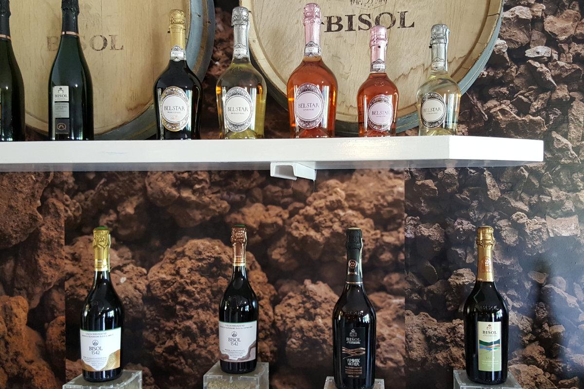 verschillende Prosecco wijnen proeven bij Bisol in de Cartizze
